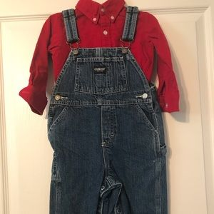 Oshkosh denim overalls & shirt 24mo